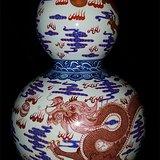 青花钒红龙凤呈祥葫芦瓶