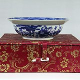 清代雍正青花人物纹陶瓷碗