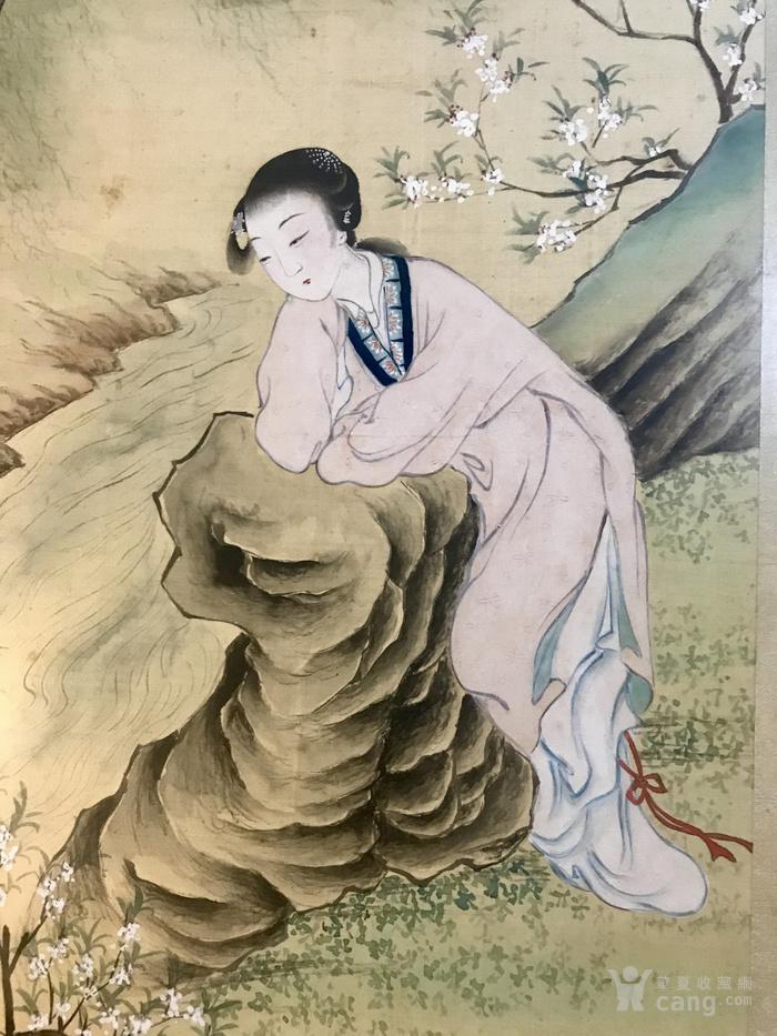 晚清民国绢本设色仕女图,带裱框图4