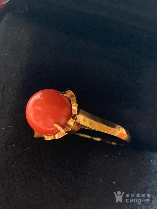 古董18K金珊瑚莫莫女士戒指图1