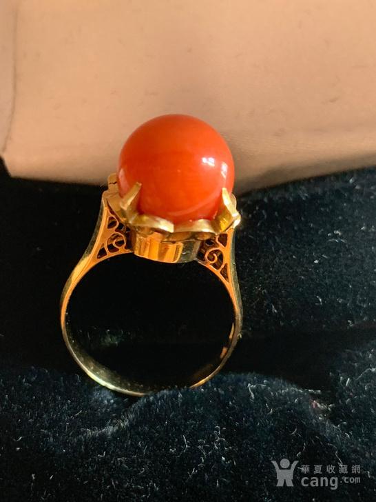 古董18K金珊瑚莫莫女士戒指图2