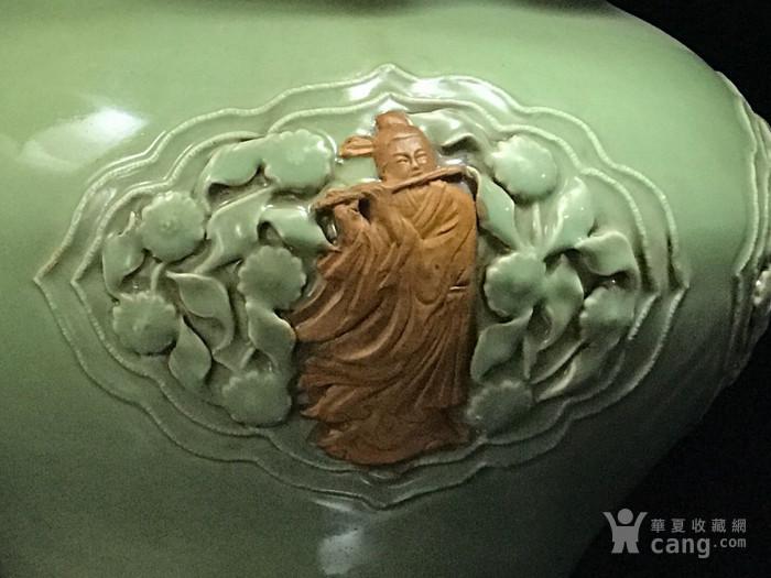 元龙泉窑捏花浮雕八仙人物荷叶盖罐33 35图3