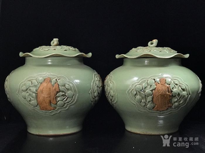 元龙泉窑捏花浮雕八仙人物荷叶盖罐33 35图4