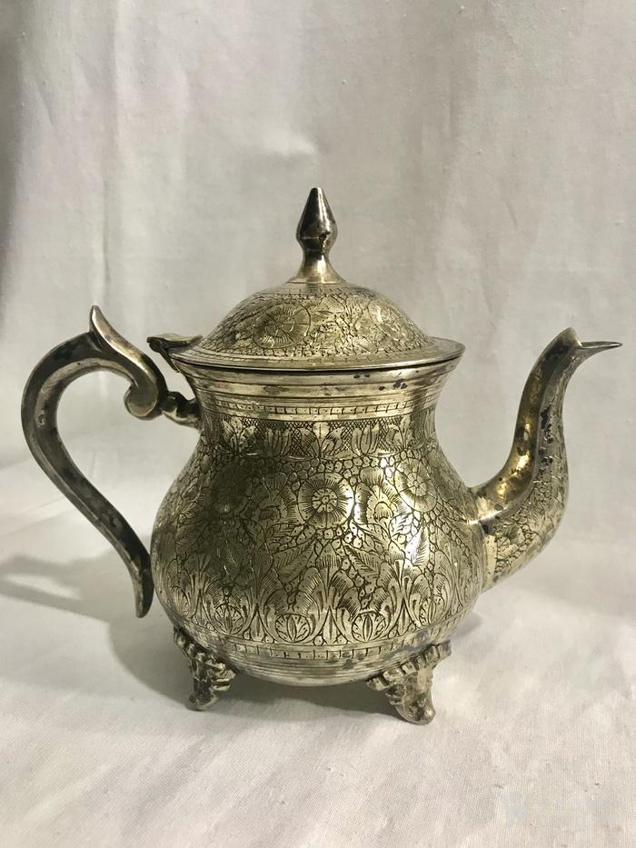 西洋錾刻满工茶 咖啡镀银用具三件套配盘图4
