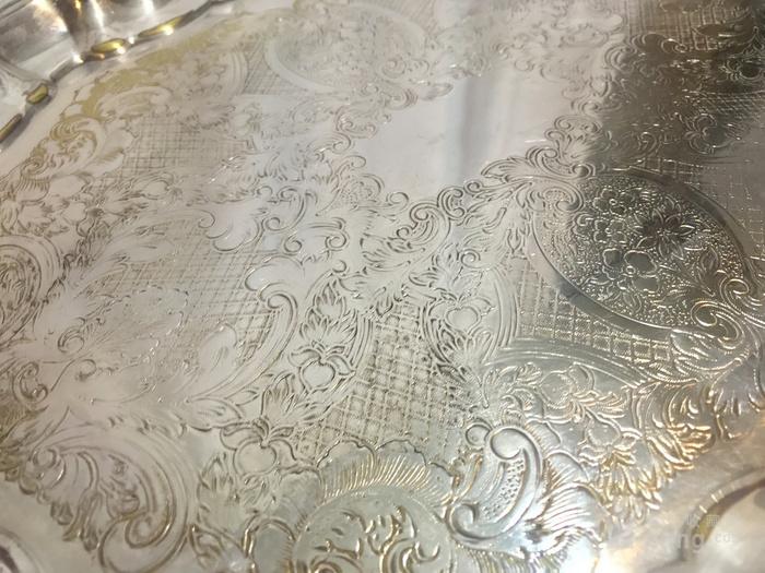 西洋錾刻满工茶 咖啡镀银用具三件套配盘图11