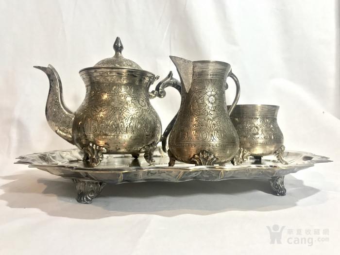 西洋錾刻满工茶 咖啡镀银用具三件套配盘图2