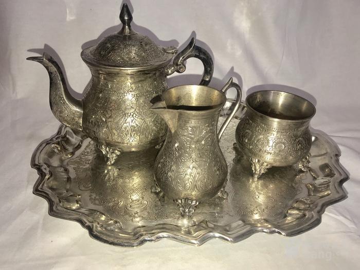 西洋錾刻满工茶 咖啡镀银用具三件套配盘图1