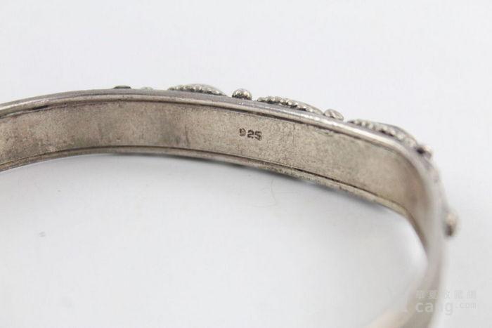 欧洲回流特价:925纯银镶嵌松石珊瑚手镯 谢绝议价图6