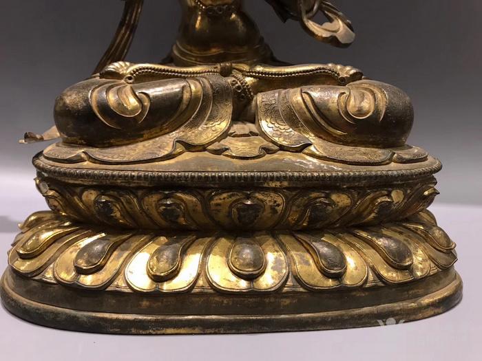 清 铜鎏金文殊菩萨 高34cm图3