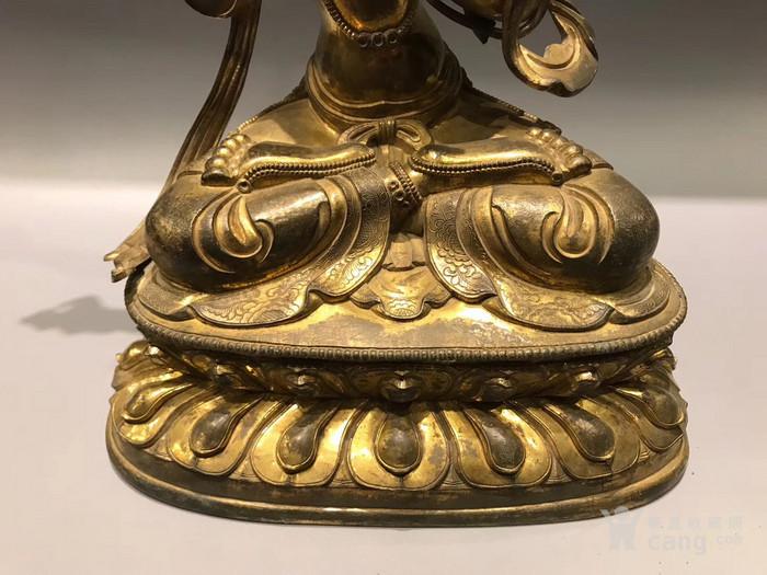 清 铜鎏金文殊菩萨 高34cm图4