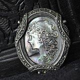 欧洲纯银螺钿经典雕刻别针