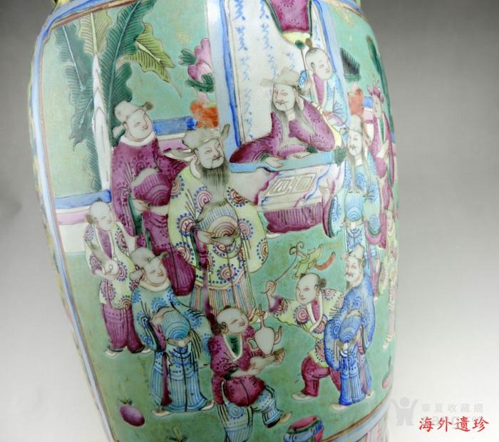 晚清 绿松石釉地粉彩故事人物螭龙狮耳大瓶图6