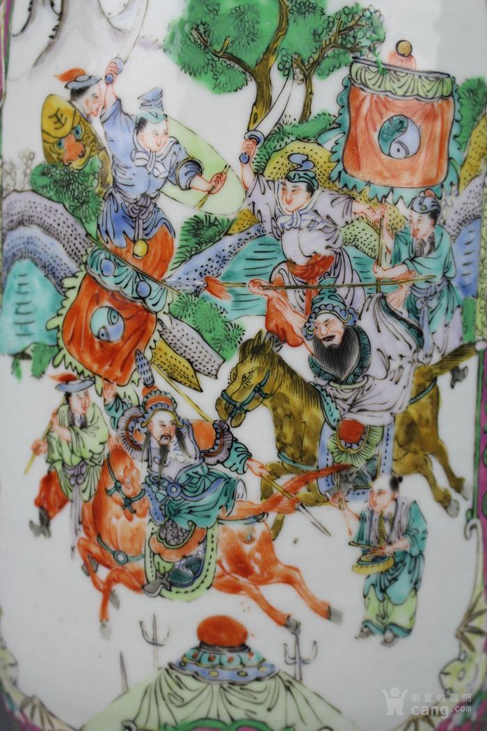 清咸丰珊瑚地广彩开光 封神榜 人物故事狮耳大瓶图10