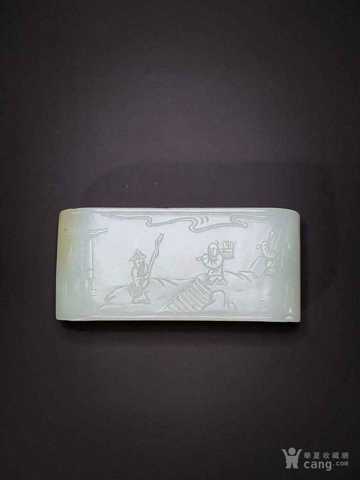 旧藏 和田玉雕渔樵耕读书卷式墨台墨床 文房案头赏玩摆件器物图2