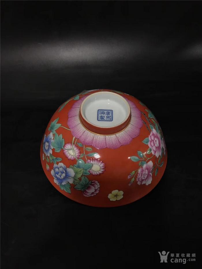 康熙珊瑚红珐琅彩花卉碗图8