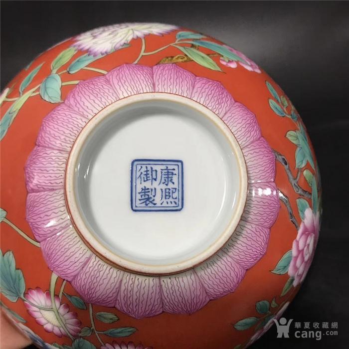 康熙珊瑚红珐琅彩花卉碗图9