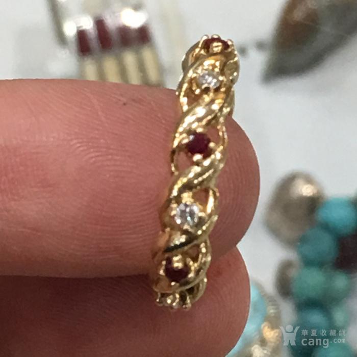 近代美国纯天然红宝石,钻石14k金麻花戒指图3