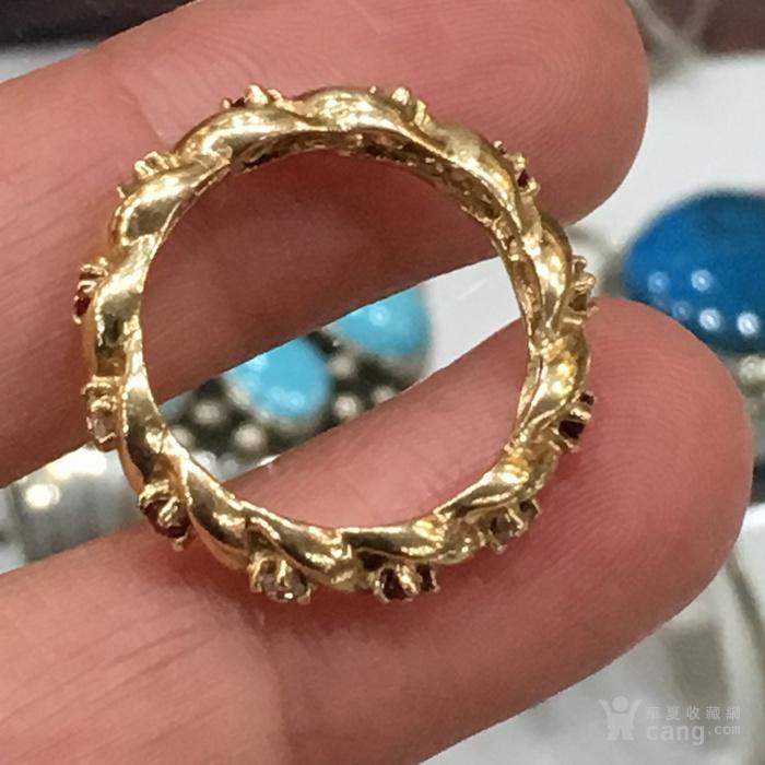 近代美国纯天然红宝石,钻石14k金麻花戒指图4