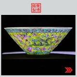 景德镇文革老厂货瓷器 手绘龙腾图薄胎碗