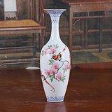 景德镇文革老厂货瓷器 手绘花鸟薄胎瓶