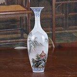 景德镇文革老厂货瓷器 手绘山水风景图薄胎瓶