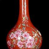 海外回流 红釉彩绘 花卉纹描金口 赏瓶一件