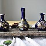 日本蓝釉牡丹孔雀小花插一组