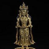 清代:铜鎏金菩萨立像