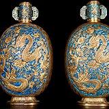 海外回流 鎏金烧蓝  龙纹赏瓶 一对