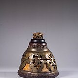 民国 老竹嵌铜鎏金卷草纹蛐蛐罐