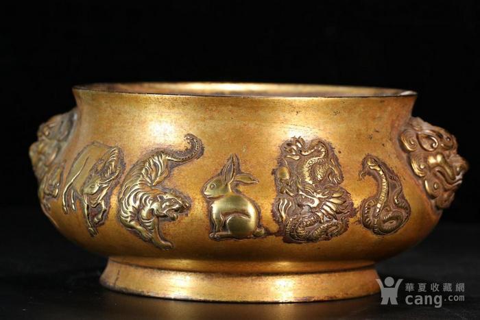清 案头雅器 铜鎏金双狮耳十二生肖铜香炉图片