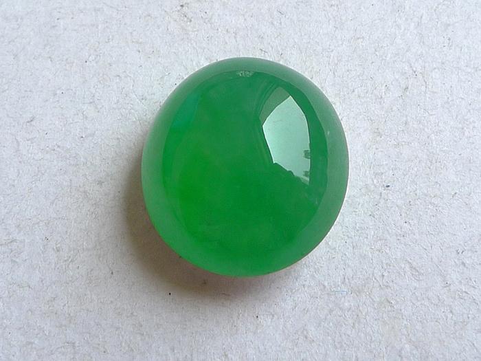润玉楼 天然A货翡翠  0412 冰种满绿蛋面图1