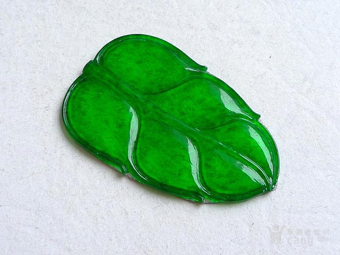 润玉楼 天然A货翡翠  0413 冰种正阳绿叶子镶件图3