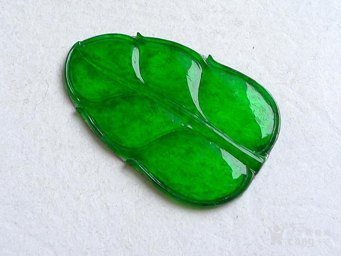 润玉楼 天然A货翡翠  0413 冰种正阳绿叶子镶件图5