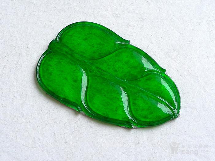 润玉楼 天然A货翡翠  0413 冰种正阳绿叶子镶件图7