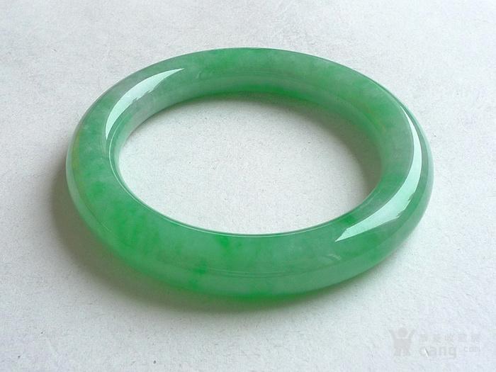 润玉楼 天然A货翡翠  0413 满绿圆条手镯 56.5mm图1