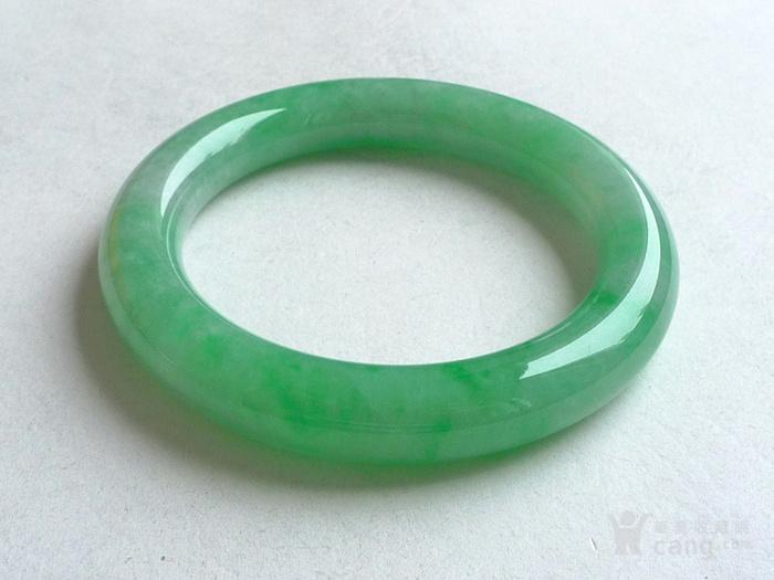 润玉楼 天然A货翡翠  0413 满绿圆条手镯 56.5mm图2