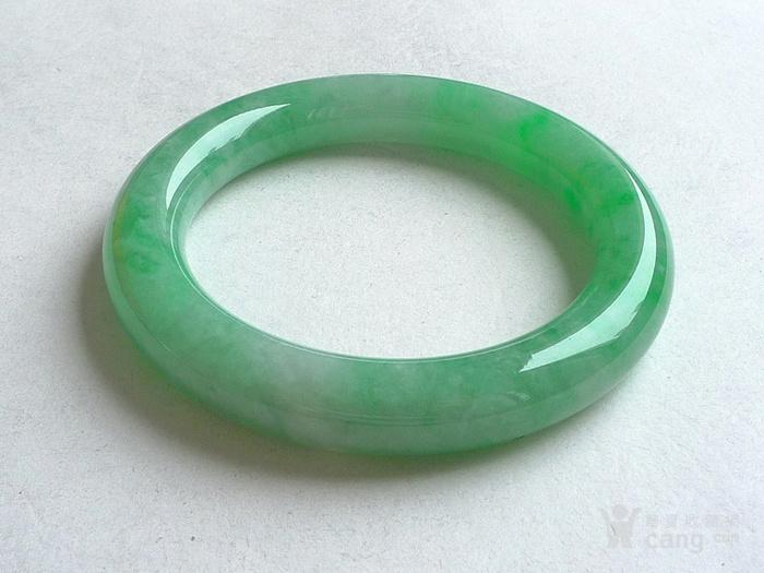 润玉楼 天然A货翡翠  0413 满绿圆条手镯 56.5mm图3