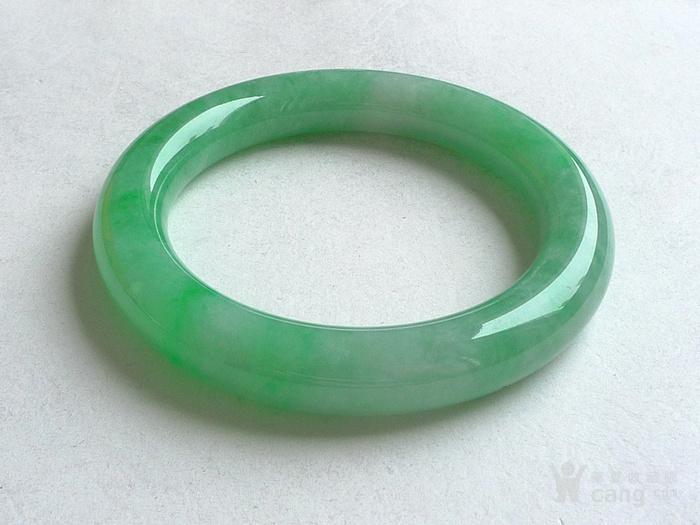 润玉楼 天然A货翡翠  0413 满绿圆条手镯 56.5mm图5