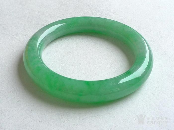润玉楼 天然A货翡翠  0413 满绿圆条手镯 56.5mm图6