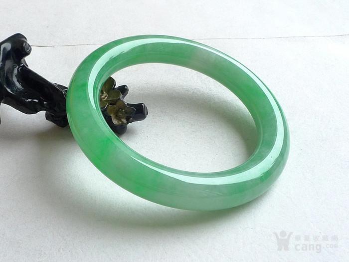 润玉楼 天然A货翡翠  0413 满绿圆条手镯 56.5mm图8