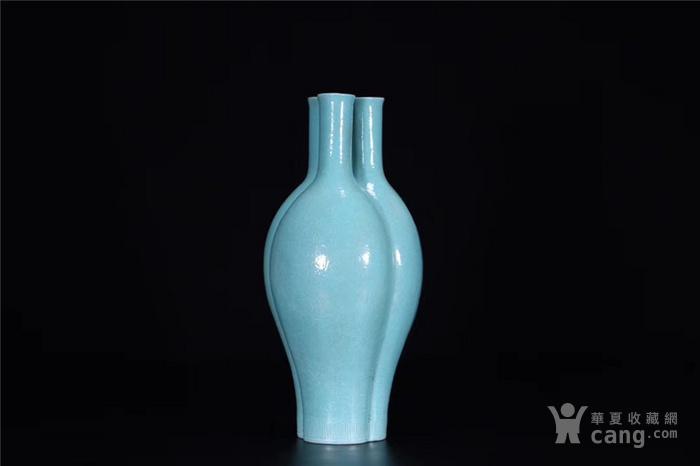 x欧洲回流:清.松石绿釉三管瓶图3