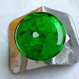 润玉楼 天然A货翡翠  0415 玻璃种帝王绿平安扣镶件