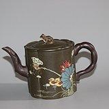 本山绿泥双色荷花茶壶茶具