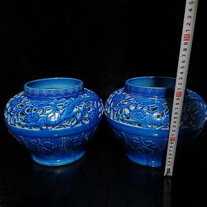 单色釉浮雕镂空花卉龙纹罐
